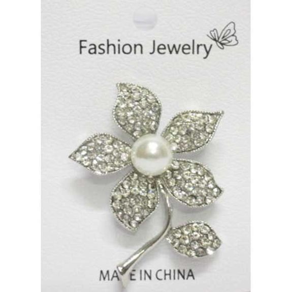 jewelry brooch flower crystal pearl
