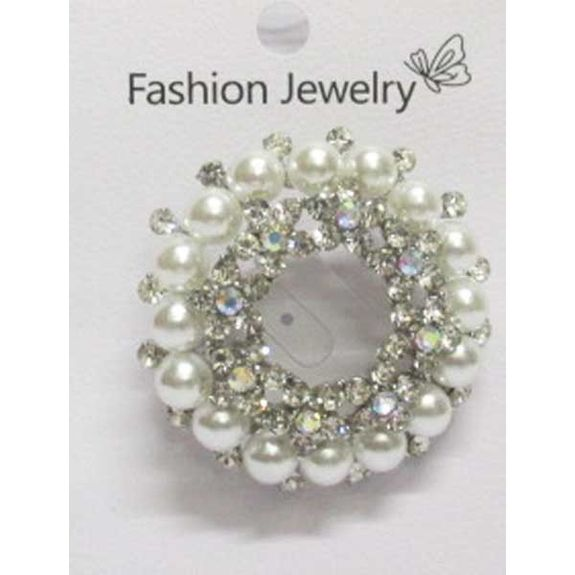 flower crown rhinestone pearl brooch