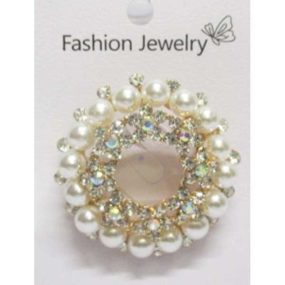 rhinestone golden pearl brooch in the round