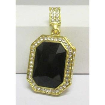 rectangular black stone pendant golden crystal