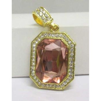 stone pendant crystal frame rectangle golden