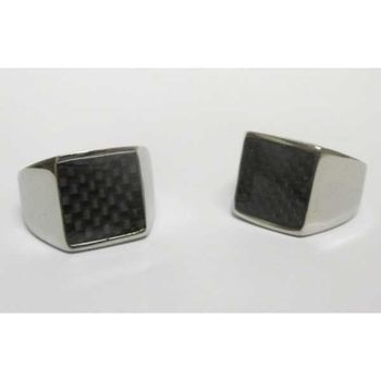 checkered square signet ring