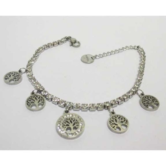 steel crystal bracelet tree of life charm
