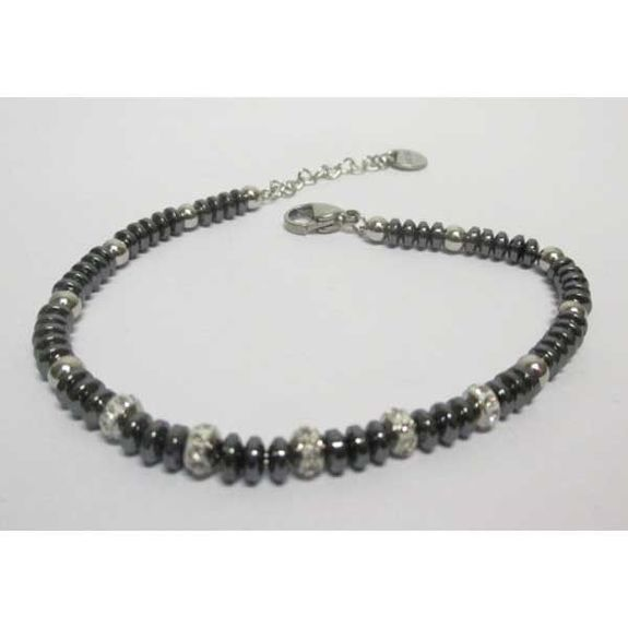 hematite steel washer bracelet