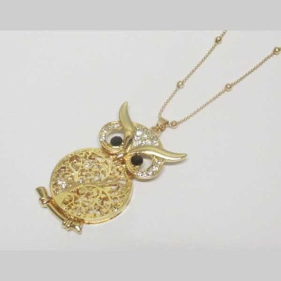 jewelry pendant owl golden crystals