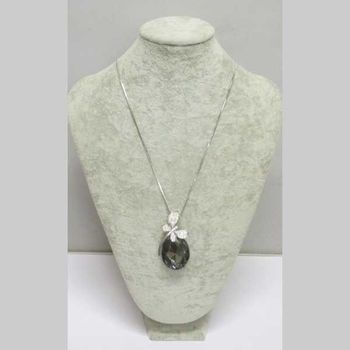 long necklace butterfly crystal pendant