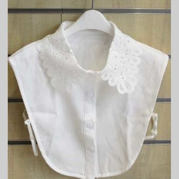 faux collar shirt embroidery flower in white