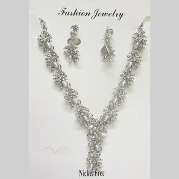 Pearl crystal wedding jewelry set