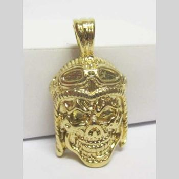 gold-plated skull aviator pendant