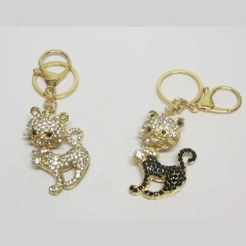 bijoux porte clé chat strass queue et collier