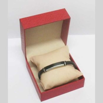 man jewelry steel leather bracelet in red box
