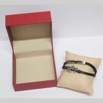 anchor and bar leather bracelet in gift case