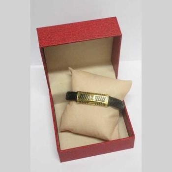 golden steel leather strap with packaging