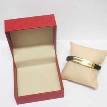 leather bracelet steel crystal gold in box