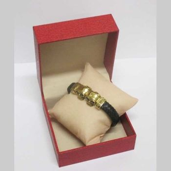 steel leather bracelet 2 gold skull book in box