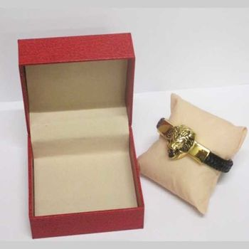 leather bracelet steel head of lion gilded book in box