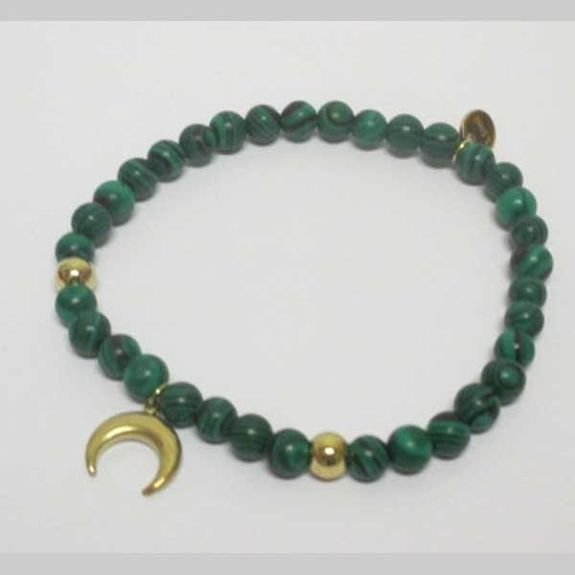 bracelet in fine stones and crescent pendant