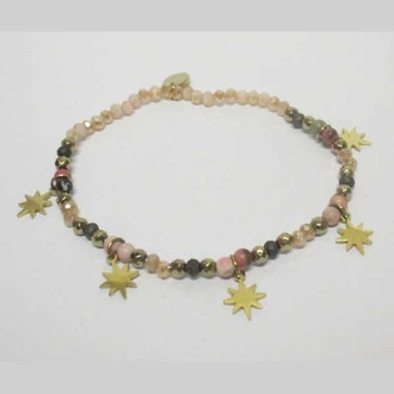 Elastic bracelet with colored pearls and gold steel star