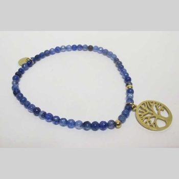 fine pearl bracelet with steel tree of life circle