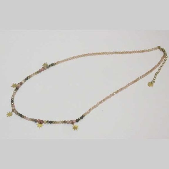 elastic necklace with colored pearls and gold steel star