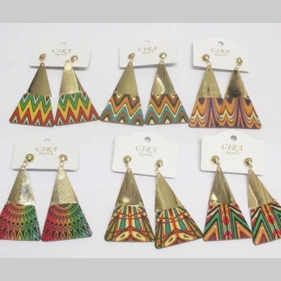 wooden triangle earrings at wholesale
