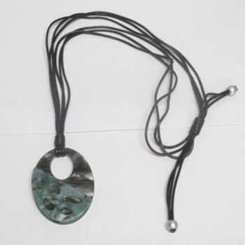 black resin oval pendant with cord