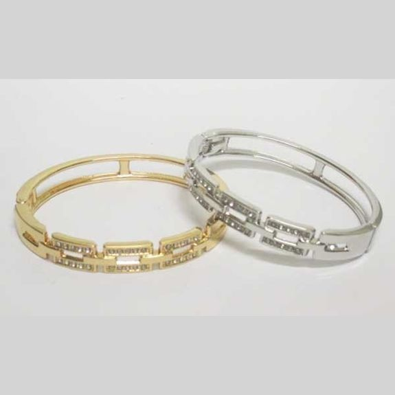 strass metal bangle sold in silver and gold