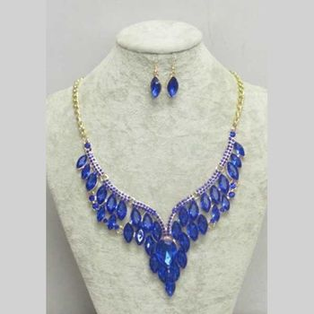 blue crystal earring necklace