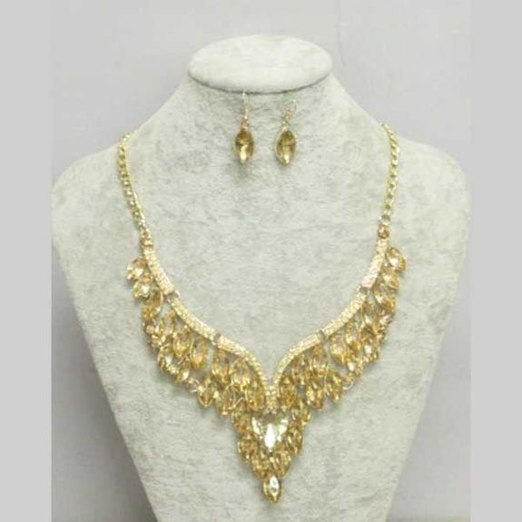 earring necklace golden crystal