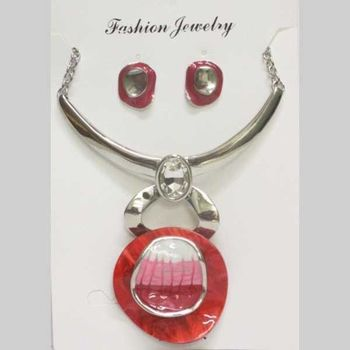 red enamel pendant metal set