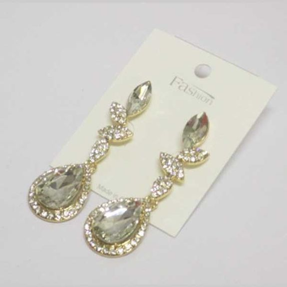 dangling crystal earrings edged with rhinestones