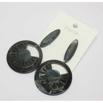 round resin black wheel earrings