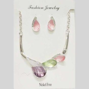 multicolored email jewelry necklace with rhinestones