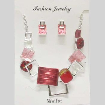 futuristic red enamel jewelry set