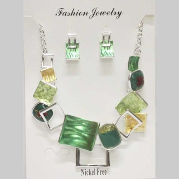 jewelry necklace earrings email in green