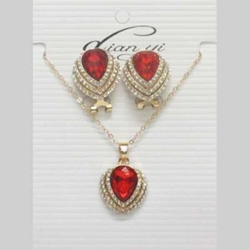jewelry necklace crystal red 3 rows strass