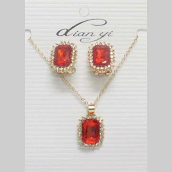 red crystal square necklace jewelry