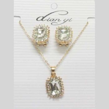 Golden rectangular crystal jewelry set