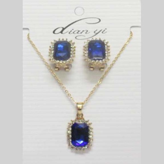 Blue crystal jewelry set geometric shape