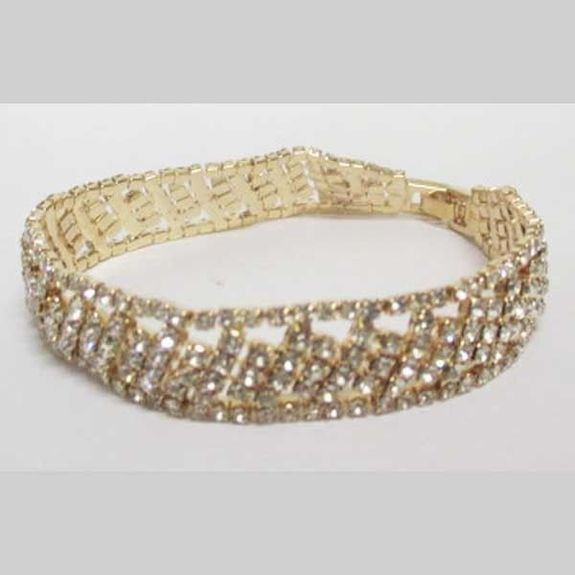 bracelet doré strass carreaux