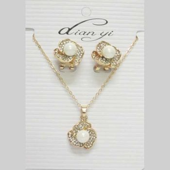 pearl rhinestone flower earring necklace
