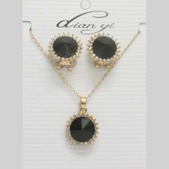 black crystal sun jewelry set