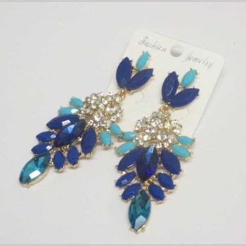 crystal earrings dangling blue tones