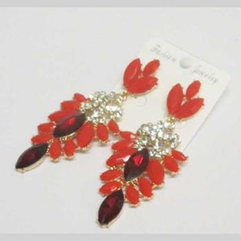 red crystal dangling earrings