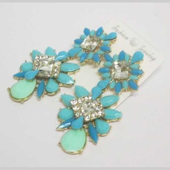 crystal blue flower petal earrings