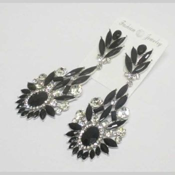 black crystal flower fancy earrings
