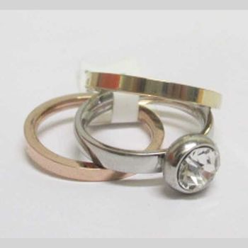 woman steel trio ring