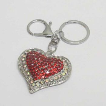 jewelry keychain heart crystal red silver
