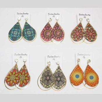 fancy wooden earring with ethnic print