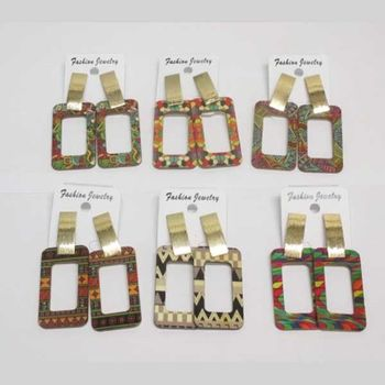 wooden rectangle earrings with bohemian prints